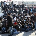 Illegal immigrants from North Africa arrive on the southern Italian island of Lampedusa