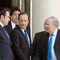 François Hollande à l'Élysée avec le président du CRIF Richard Prasquier etle président du Consistoire israélite Joël Mergui