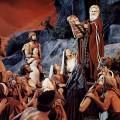 Moïse avec les tables de la Loi découvre les hébreux célébrant le Veau d'Or