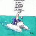Le capitaine de pédalo perdu en pleine mer, un dessin de Ranson