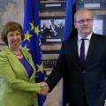Catherine Ashton avec Urmas Paet, l'homme par qui la vérité et le scandale arrive concernant les morts de la place Maidan...