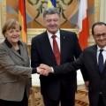 Hollande et Merkel  avec Porochenko..